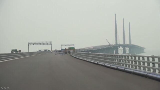 中国 香港とマカオと広東省の間に橋をつくる
