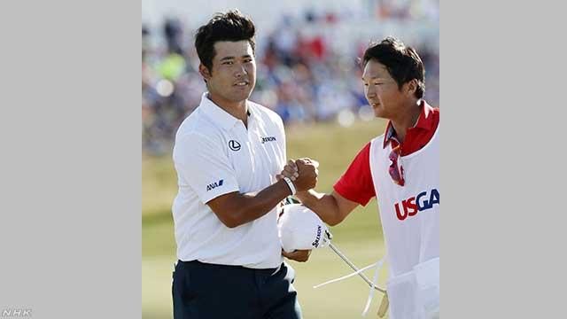 世界で有名なゴルフの大会で松山選手が2番になる