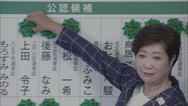 東京都の議員の選挙 小池知事に協力する議員が半分以上