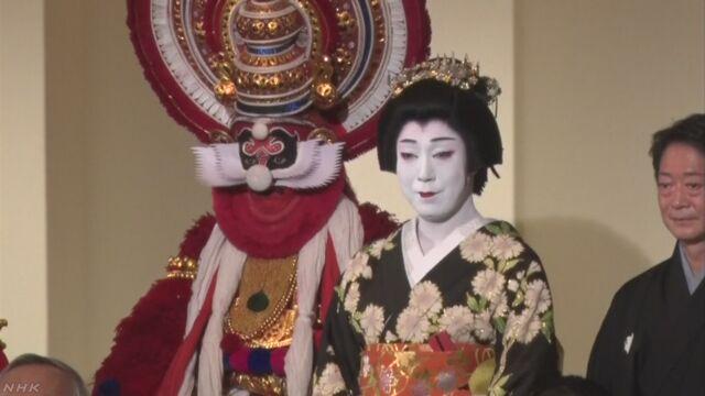 日本の歌舞伎とインドの踊りで2つの国が交流