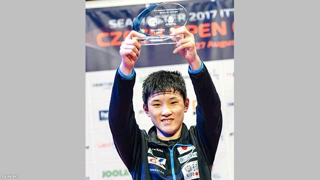 卓球のワールドツアーで14歳の張本選手が優勝する