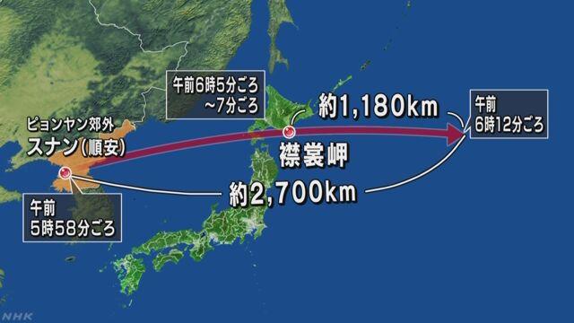 北朝鮮がミサイルを発射 北海道の上を通った