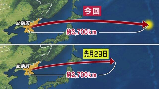 北朝鮮がミサイルを発射 前より1000km遠くまで飛ぶ