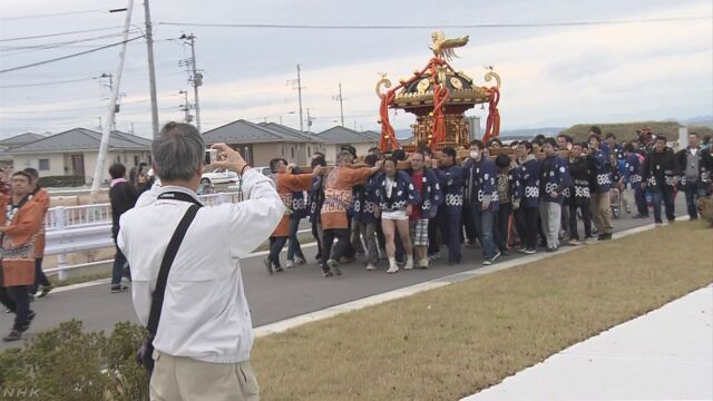 宮城県名取市の閖上地区でお祭り 町が元気になるように祈る