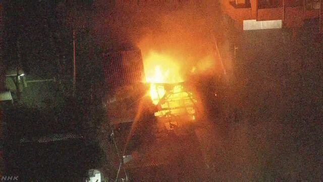 兵庫 明石の商店街で火事 30棟焼け消火活動続く