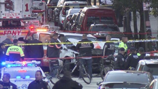 NY市長会見「卑劣なテロ」 車突っ込み8人死亡 男を拘束