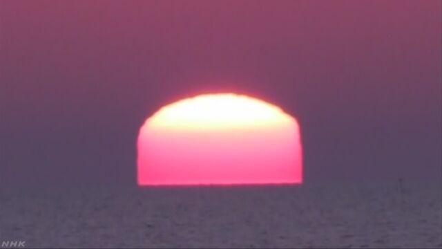 北海道 太陽が四角い形に見えた