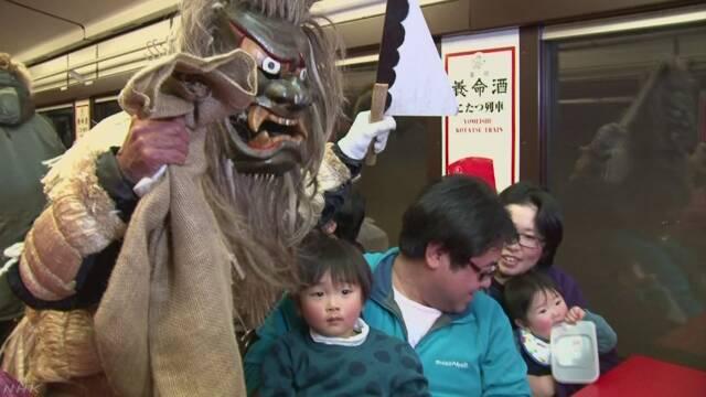 岩手県を走る三陸鉄道で「こたつ列車」が始まる