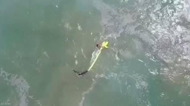 ドローンが子どもを救助 沖で救命用具を投下