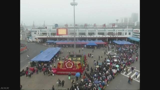 中国海南島 濃霧でフェリー欠航 春節客が大陸に戻れず