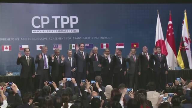 TPPに日本など11の国がサインをする
