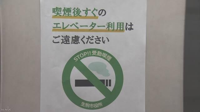 たばこを吸ったあと45分エレベーターに乗ってはいけない