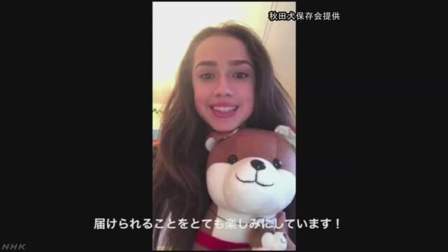 金メダリスト ザギトワ選手に贈る秋田犬 お披露目