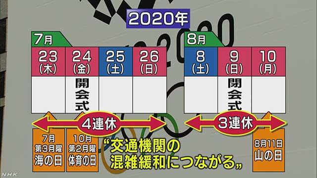 東京オリンピック 開会式の前の日から4日続けて休みになる