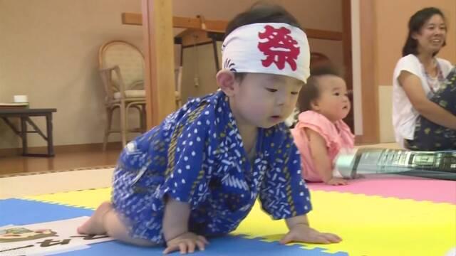 赤ちゃん「ハイハイレース」 山梨 小菅村