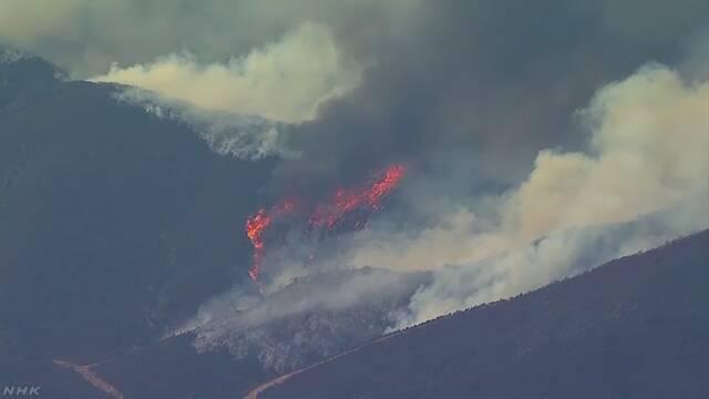 アメリカのカリフォルニア州 たくさんの山で火事が続く