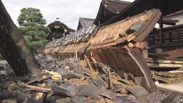 台風の強い風で世界遺産の寺の建物などが壊れる