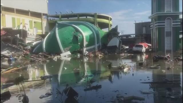 インドネシア 地震と津波で800人以上が亡くなる