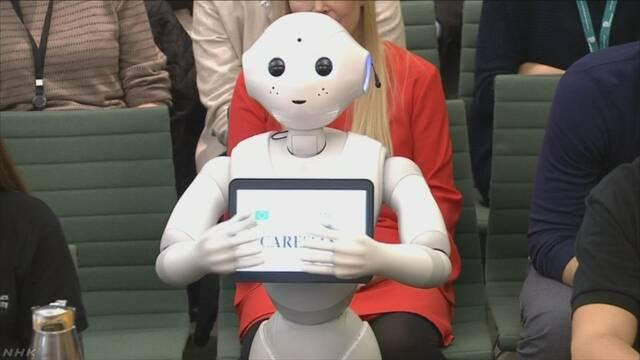人の形のロボットがイギリスの議会に出席して話す