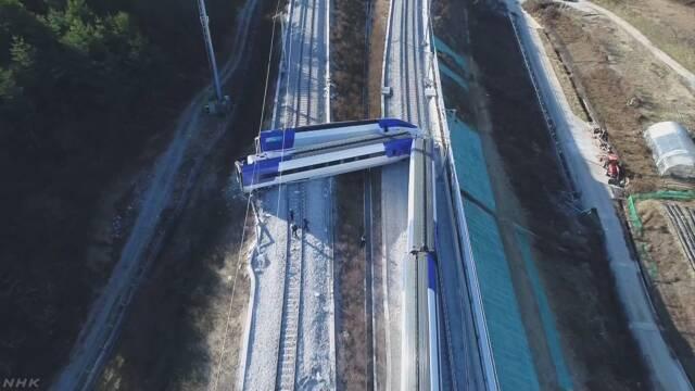 韓国の高速鉄道が脱線 14人けが