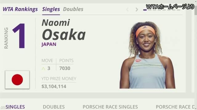 テニスの大坂なおみ選手が世界ランキングの1番になる